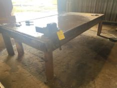 "124"" x 60"" HD Metal Shop Table with Vise"