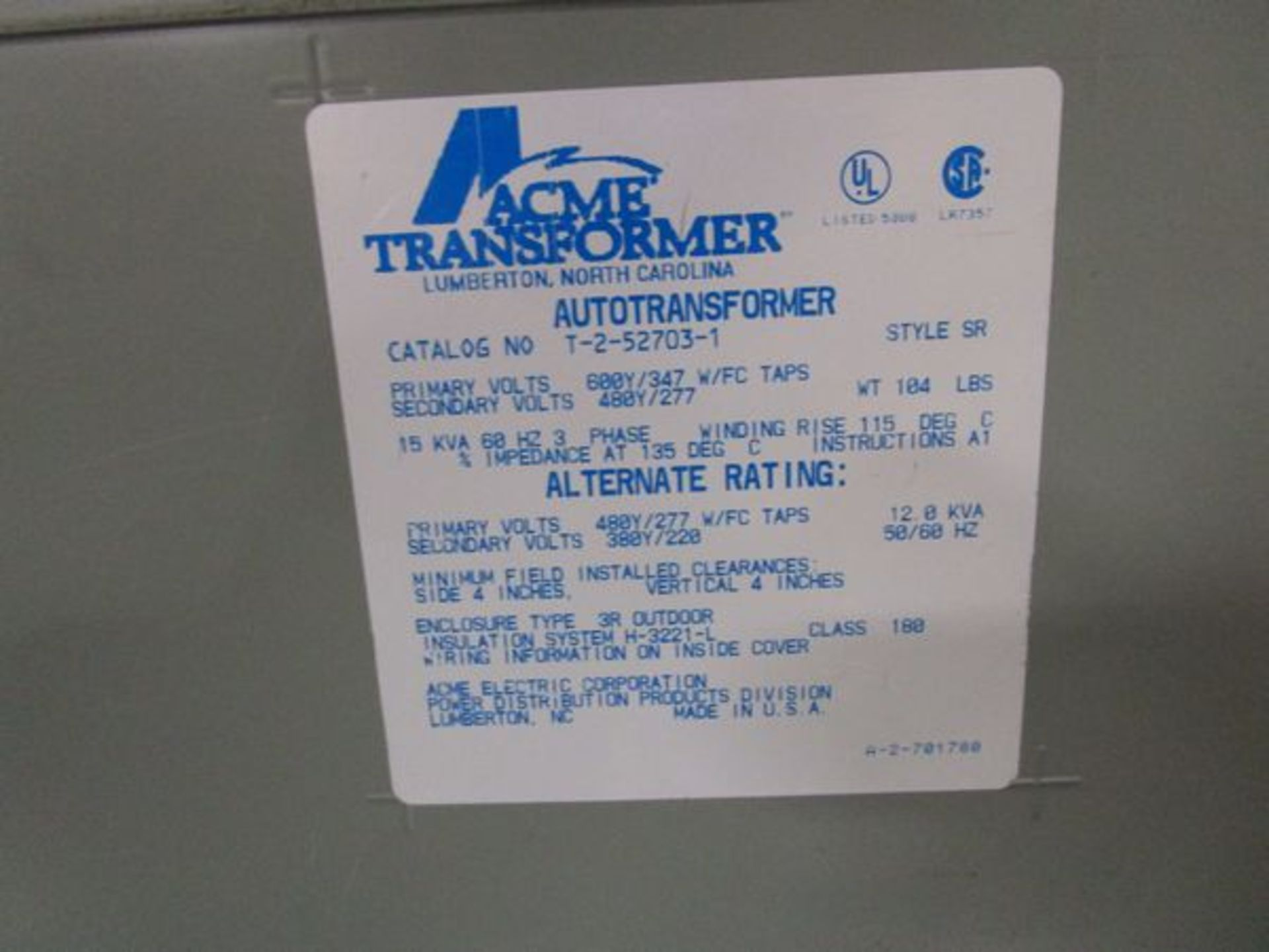Lot GE HD Safety Switch, Acme T-252703-1 Autotransformer, Acme T-2A-52717-1 Transformer - Image 5 of 6