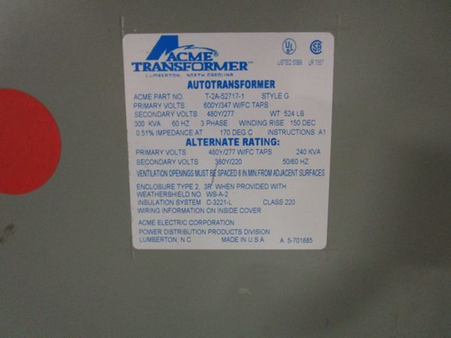 Lot GE HD Safety Switch, Acme T-252703-1 Autotransformer, Acme T-2A-52717-1 Transformer - Image 6 of 6