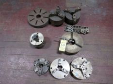 "LOT (4) 8"" 3-Jaw Chucks, (1) 6"" 3-Jaw Chuck, (1) 10"" 3-Jaw Chuck, Faceplate, Jaws"
