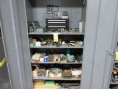 LOT Asst. Drills, Cutters, Index Cabinets, Etc. w/2-Door Supply Cabinet