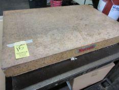 """Starrett 24"""" x 36"""" x 8"""" Pink Granite Surface Plate w/ Port. Steel Cart"""
