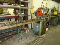 """Scotchman CPO-350 Cold Saw, w/ 96"""" Infeed Roller Conveyor, 79"""" x 7"""" Outfeed"""