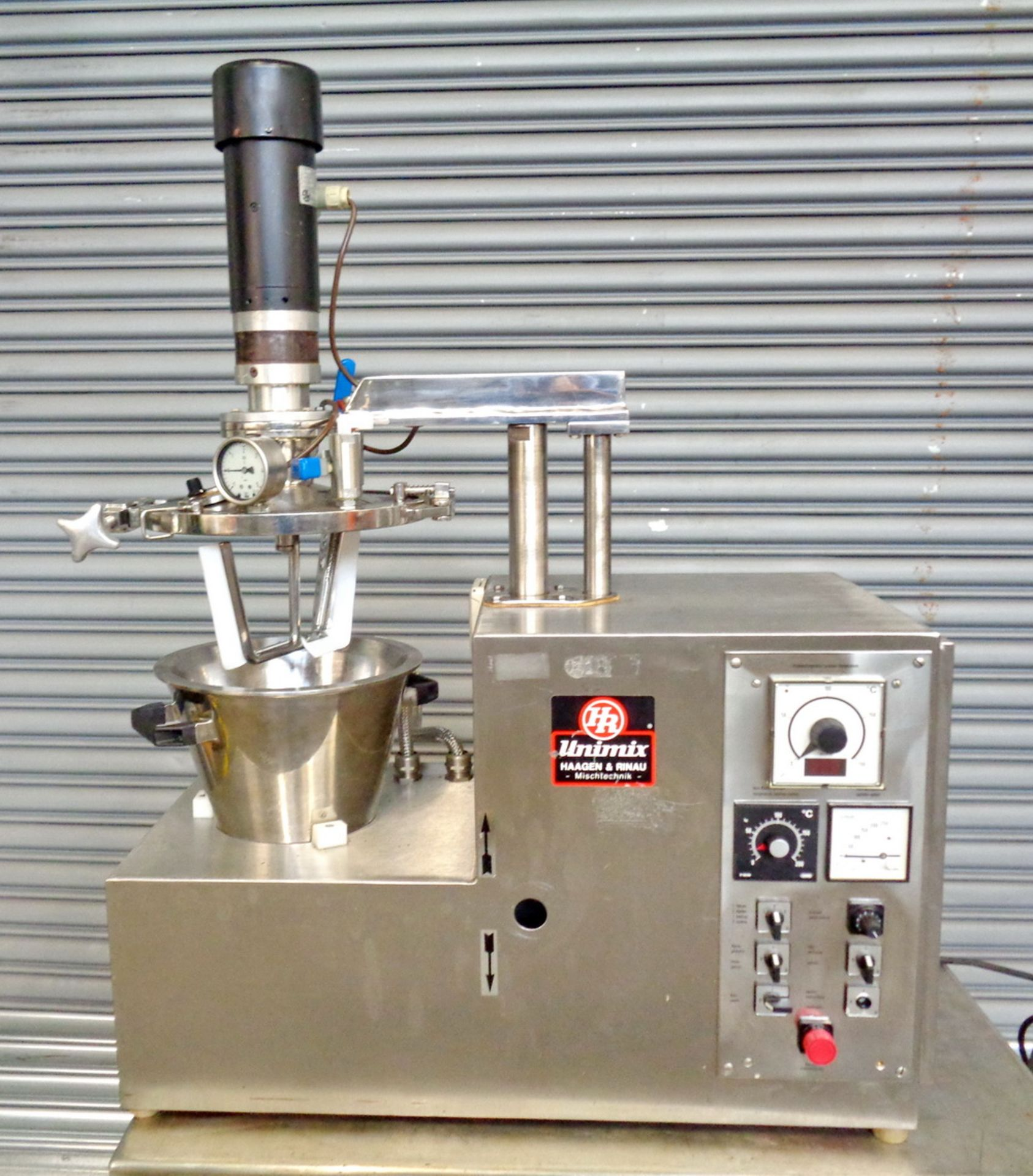 Lot 9 - Haagen Rinau (Ekato) 1 gallon SS Vacuum/Jacketed Lab Process Mixer, Model Unimix, S/N 866-3276