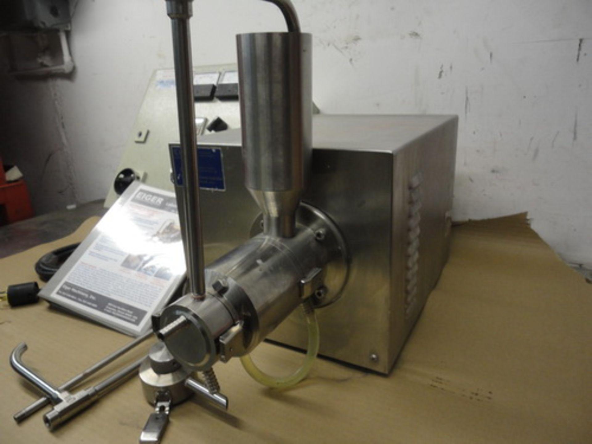 Lot 108 - Eiger SS horizontal lab/pilot media mill, Model 250-VSE-EXP, S/N 10135