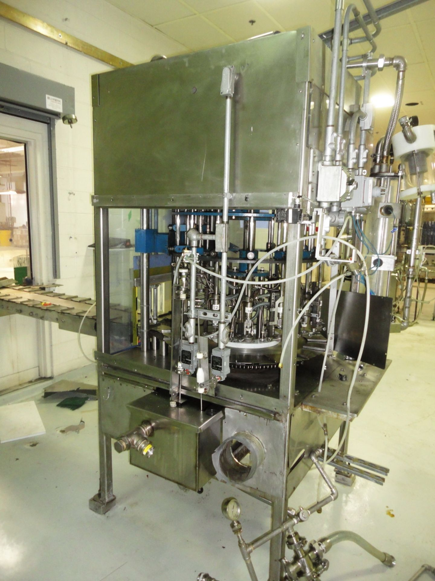 Lot 199 - RJM 16 Head Vacuum Filler, Model PF 1, S/N 80447, explosion proof, vacuum jar, stainless steel