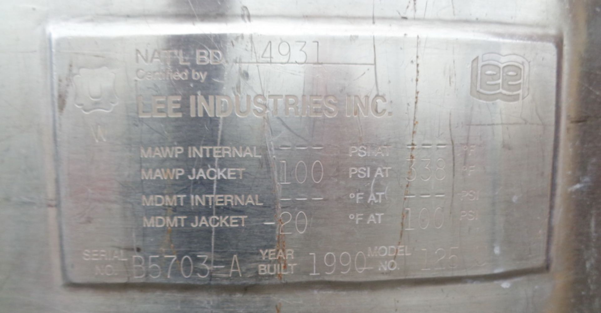 Lee 125 gallon Stainless Steel Jacketed Tank/Kettle, Model 125U - Image 4 of 5