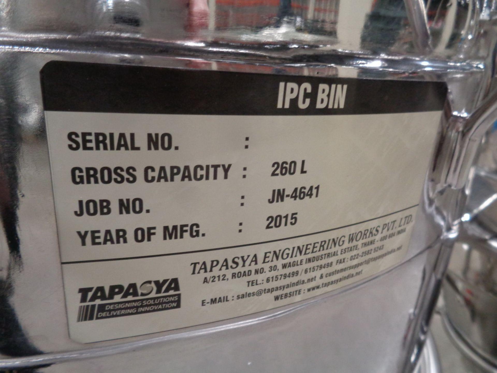 Lot 217 - Tapasya 260 Liters SS Powder Portable Totes w/cover no valve