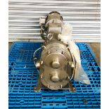 Waukesha stainless steel positive displacement pump, driven by a 3HP XP motor