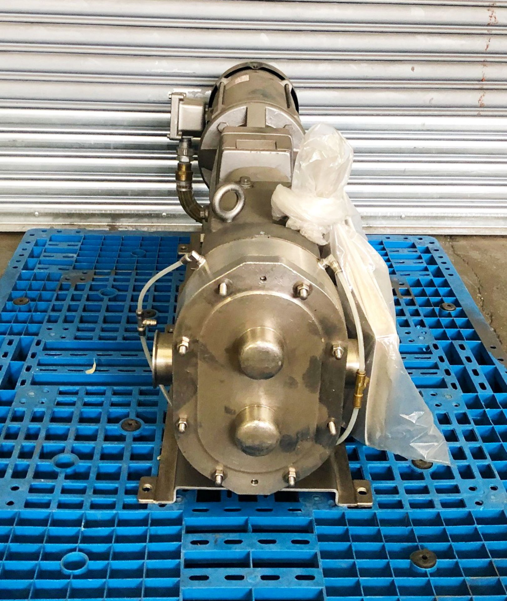 Lot 120 - Waukesha stainless steel positive displacement pump, driven by a 3HP XP motor