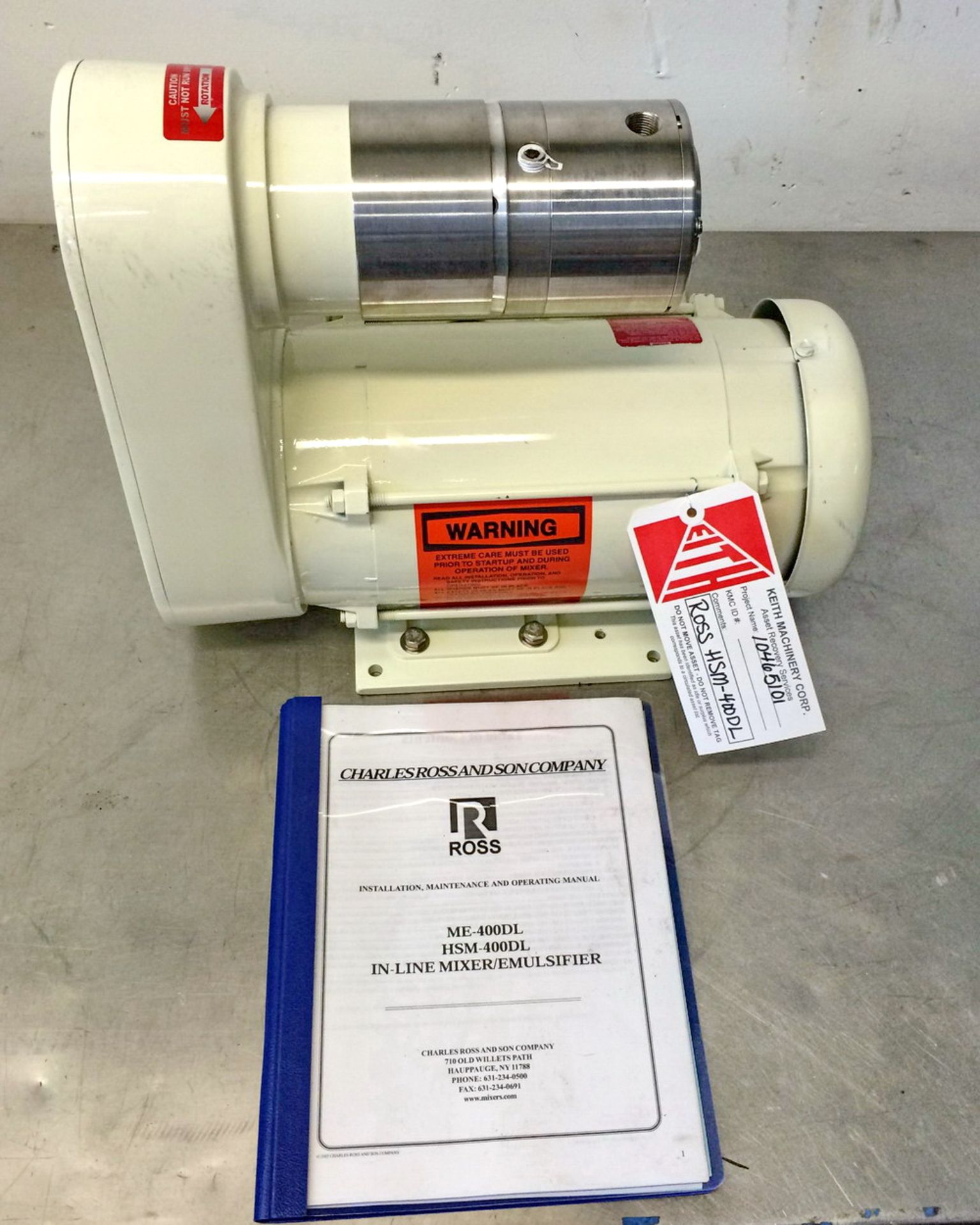 Lot 21 - New/Unused Ross Lab Size Inline Rotor/Stator High Shear Mixer, Model HSM-400DL S/N 105004