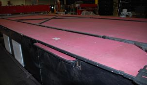 Assembly Table 24' long x 13' wide, has laser target above and pneumatic clamp