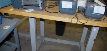 6' x 2' steel table with butcher block top (contents not included)