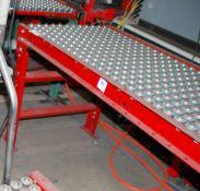 Lot of (2) sections ball bearing conveyor