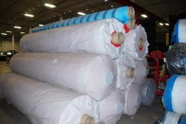 """Lot of rolls, approximately 149"""" x 30"""" woven poly Propylene Blue and Red"""
