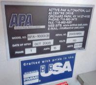 APA/Multisorb Automatic Packet Desiccant Dispenser/Filler, Model APA-1000CB, S/N 2005196A, new 2005