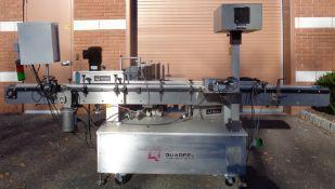 Quadrel Automatic Pressure Sensitive Labeler, Model Versaline, S/N 46410-01, w/Markem Smart Date 3