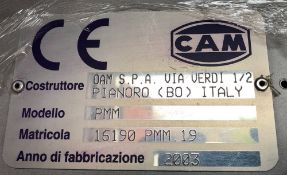 CAM Automatic Horizontal Blister and Bottle Cartoner, Model PMM, S/N C.1690.PMM.19