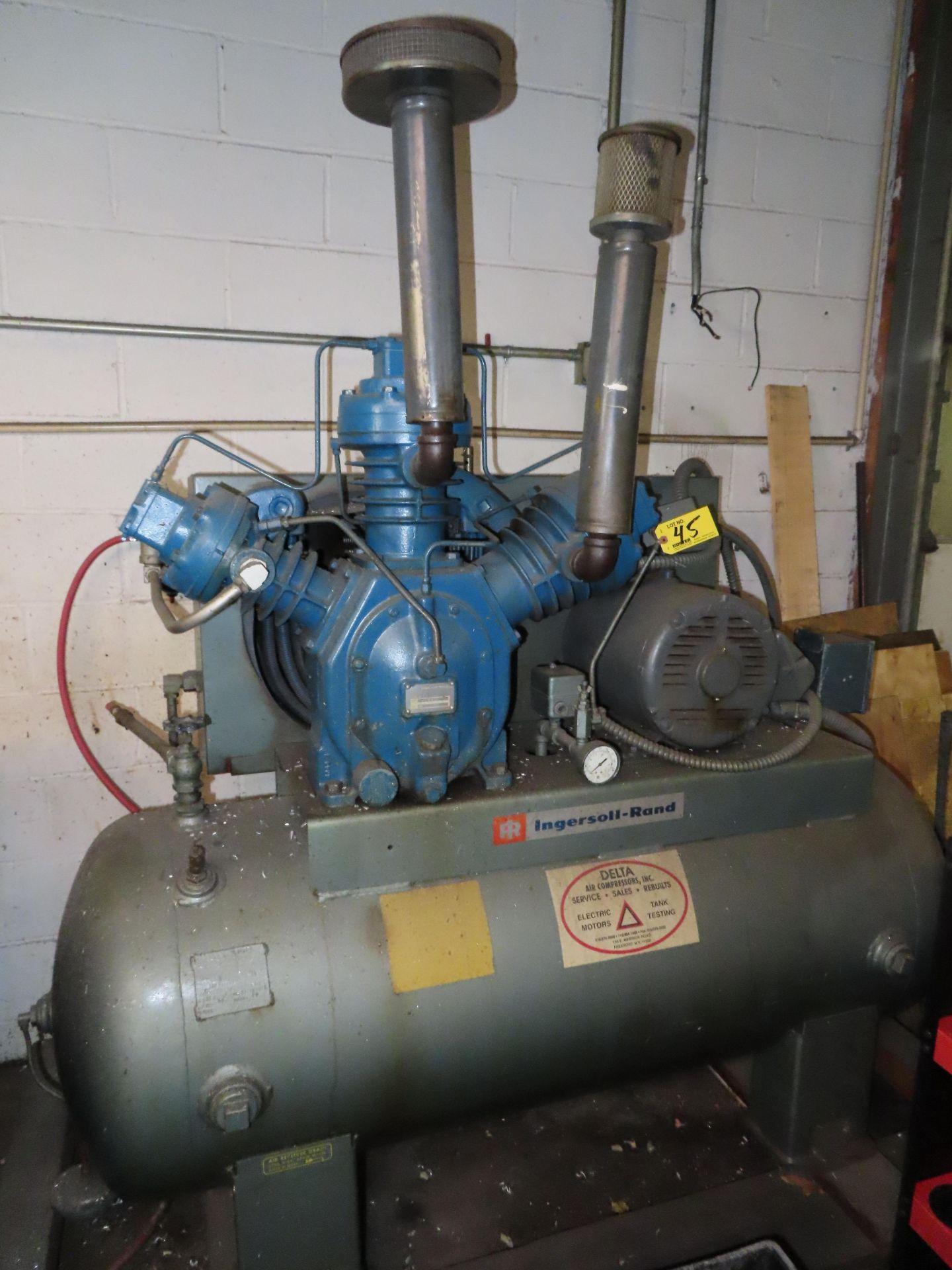 INGERSOLL RAND TYPE 30 MDL. 15TM PISTON TYPE HORIZONTAL TANK MOUNTED AIR COMPRESSOR, 15HP, 3-