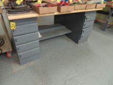 EQUIPTO 8-DRAWER WOOD TOP WORK BENCH (NO TOP CONTENTS)