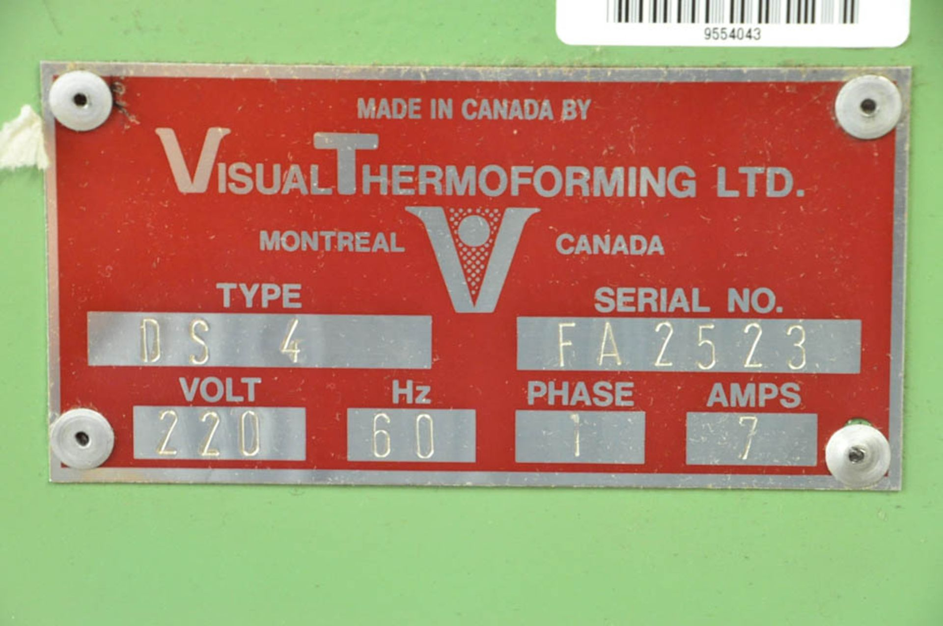 Lot 200 - VISUAL THERMOFORMING LTD TYPE DS 4, 4-STATION INDEXING THERMOFORMING MACHINE, S/N:FA2523