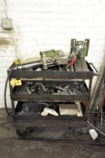 CART WITH DRILL HEAD AND PARTS CONTENTS