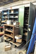(1) 2-DOOR CABINET WITH MACHINE MAINTENANCE PARTS CONTENTS (3) SECTIONS SHELVING AND SHORT CABINET