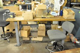 (3) ASSORTED BENCHES, (1) WITH VISE, (CONTENTS AND MACHINERY NOT INCLUDED), (2) TABLES, CHAIRS AND