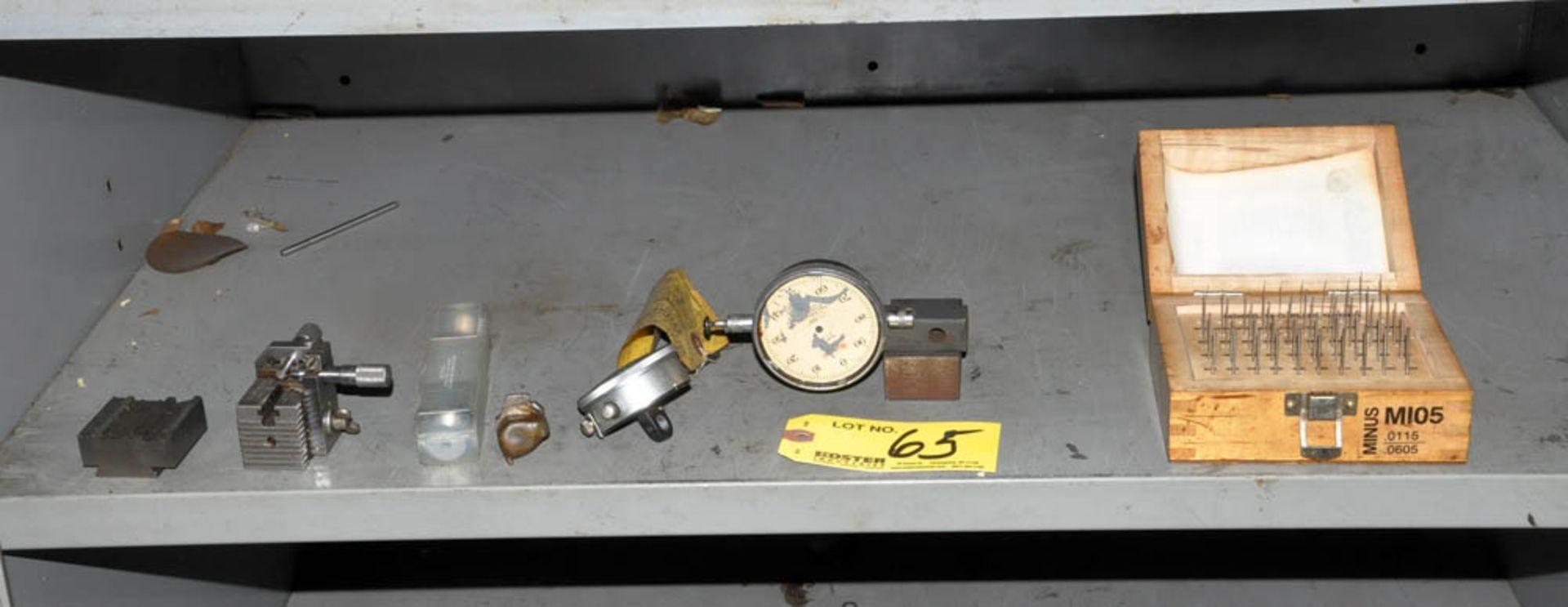 M25 PIN GAGE SET, (2) DIAL INDICATOR GAGES, V-BLOCK ETC. ON (1) SHELF