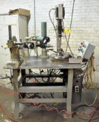 CUSTOM FABRICATED 2-HEAD SINGLE STATION DRILLING OPERATION, WITH DESOUTTER DRILL HEADS, PUSH