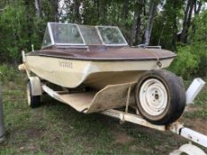 16ft Tri-Hull Boat w/70hp Johnson Outboard Kicker Had it almost running, Safety in Gear shift