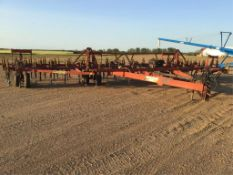 Bourgalt 36-40 40ft Cultivator w/Mounted Rite Way Tine Harrows. 8in Spacing, Hyd on Rear Hitch.