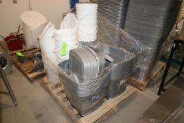 Pallets of Plastic Totes, with 5 Gal. Buckets (LOCATED IN YOUNGSTOWN, OH) (Rigging, Handling &