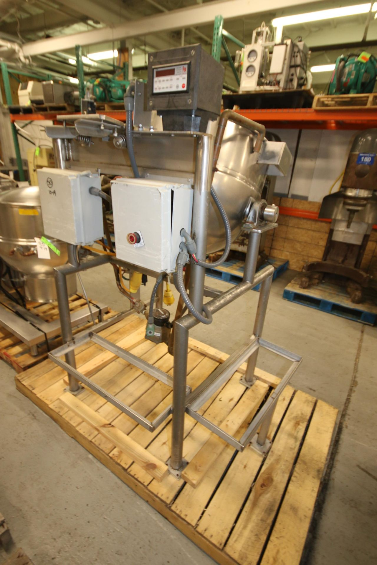 Lot 12 - Burkhard Aprox. 70 Gal. S/S Jacketed Tilting Kettle, SN 9466 56N T75, with Pneumatic Tilt, Mounted