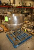 Groen 100 Gal. Jacketed S/S Kettle, Model N 100 SP, BN 17386, with Lee S/S Bridge Agitator, S/S