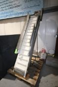 "S/S Incline Conveyor with Cleats, Cleat Spacing: Aprox. 6"", Overall Dims.: Aprox. 88"" L x 16"" W,"