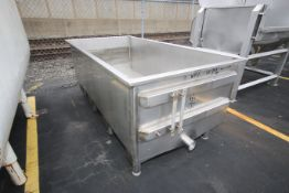 "Aprox. 8 ft L x 4 ft W x 30"" D S/S Trough, with 4"" CT Inlet (LOCATED @ M. DAVIS GROUP AUCTION"