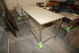 """S/S Table with Cutting Board Table Top, Overall Dims.: Aprox. 72"""" L x 30"""" W x 36"""" H (LOCATED IN"""