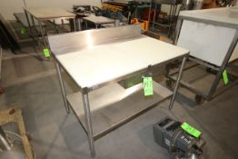 """S/S Table with Cutting Board Table Top, Overall Dims.: Aprox. 48"""" L x 30"""" W x 39"""" H (LOCATED IN"""