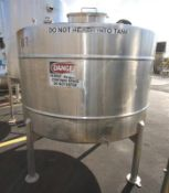 Aprox. 1,000 Gal. Dome Top, Cone Bottom S/S Mix Tank, Single Wall, with Side Mount 3 Prop