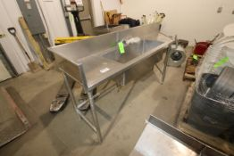 """Single Bowl S/S Sink, Overall Dims.: Aprox. 96"""" L x 23"""" W x 36"""" H (LOCATED IN YOUNGSTOWN, OH) ("""