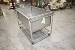 "S/S Portable Totes, Internal Dims.: Aprox. 53-1/2"" L x 29-1/2"" W x 19"" Deep, Mounted on Portable S/S"