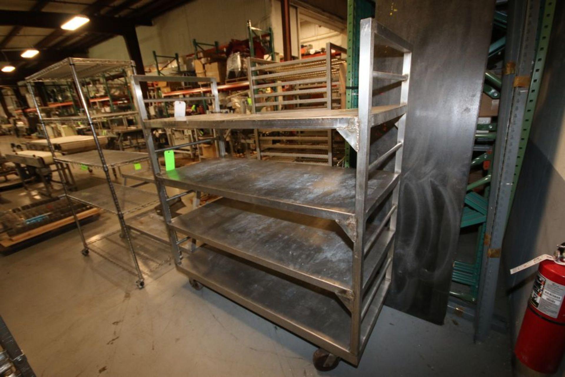 "Lot 73 - (1) Portable 4-Shelf Unit, Overall Dims.: Aprox. 65"" L x 29"" W x 70"" H, & (1) Portable 2-Shelf Unit,"