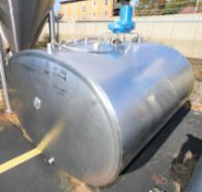 DeLaval 600 Gal. Bulk Cooler / S/S Oval Style Farm Tank, SN 71684, Freon Jacketed, with Top