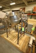 Burkhard Aprox. 70 Gal. S/S Jacketed Tilting Kettle, SN 9466 56N T75, with Pneumatic Tilt, Mounted