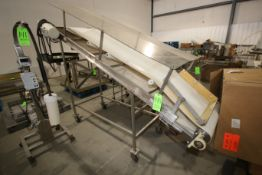 """S/S Incline Conveyor, Mounted on S/S Frame, with Aprox. 24"""" W Rubber Belt with Drive (LOCATED IN"""