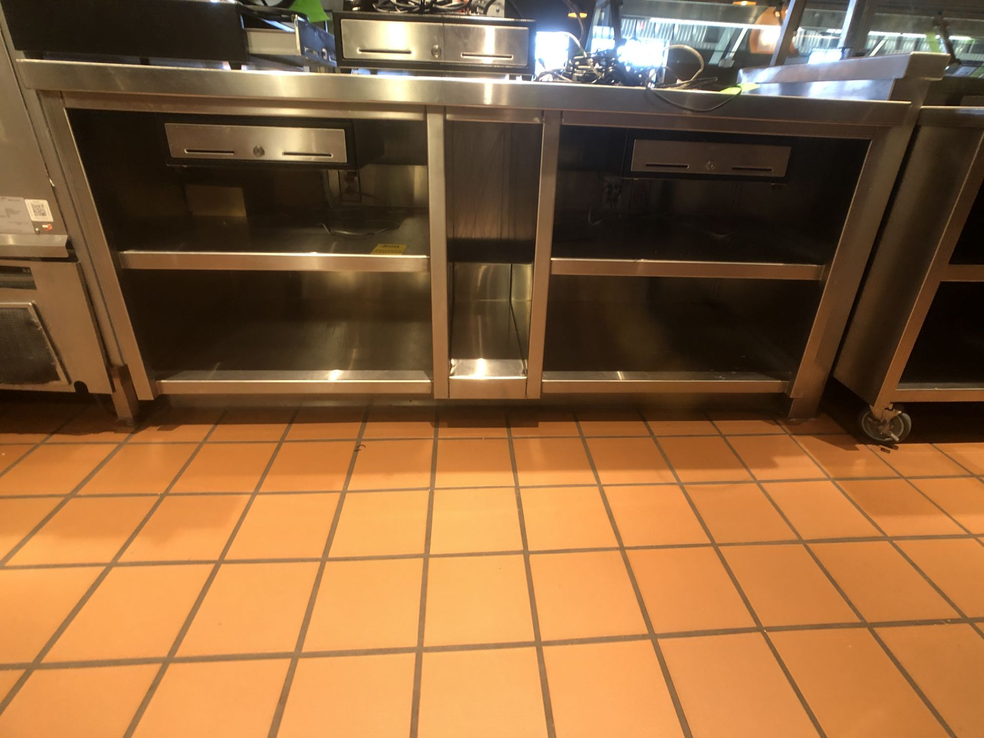 """Approx. 6' W x 34"""" W S/S Countertop Register Station with S/S Shelves (NOTE: Does Not Include Cash - Image 3 of 6"""