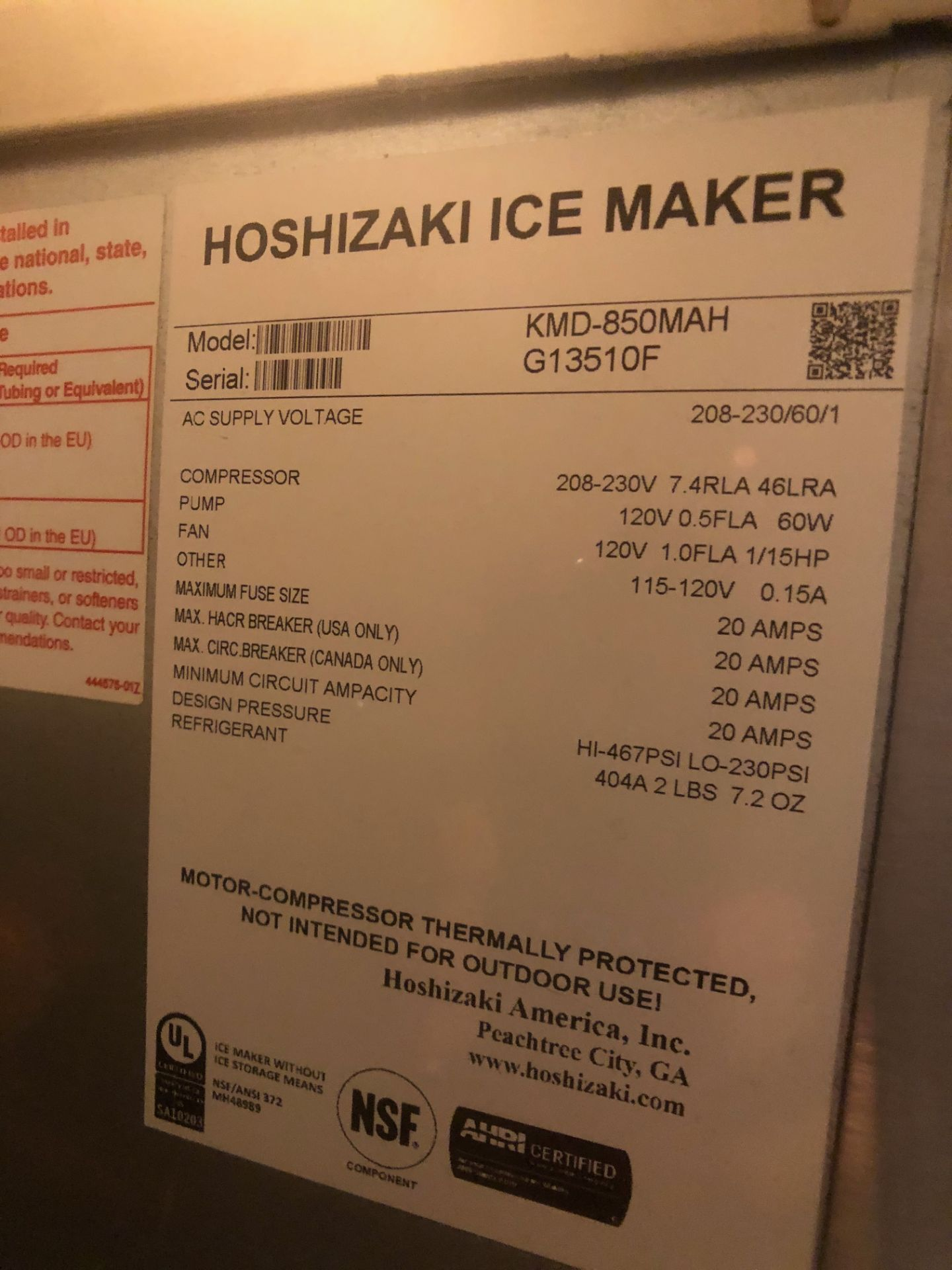 Manitowoc Beverage Systems 10-Valve Soft Drink Dispenser, Model SV250, S/N 610202454, with Hoshizaki - Image 8 of 10
