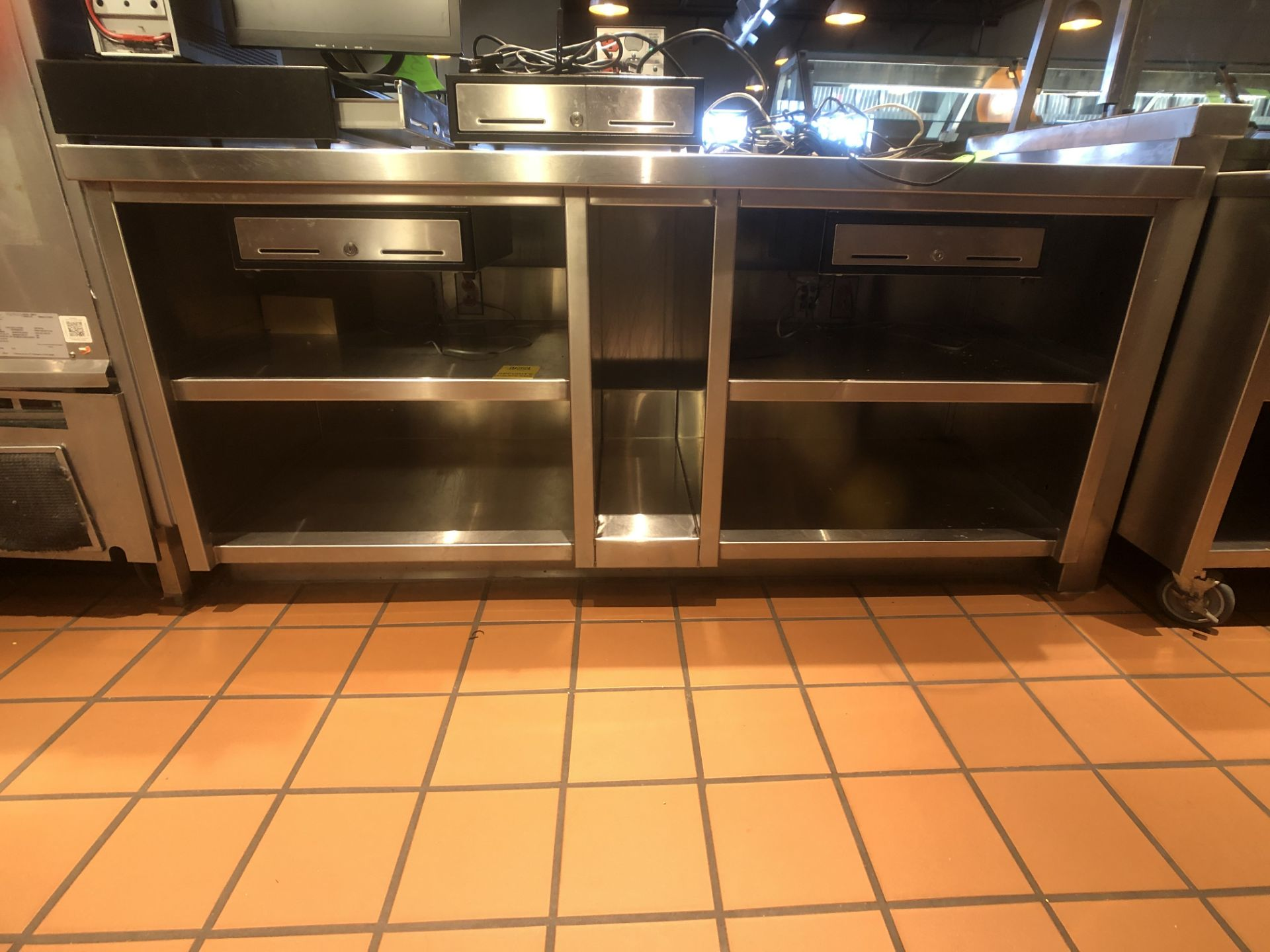 """Approx. 6' W x 34"""" W S/S Countertop Register Station with S/S Shelves (NOTE: Does Not Include Cash - Image 4 of 6"""