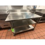 """S/S Table with Racks and S/S Backsplash, Approx. 48"""" L x 32"""" W, Mounted on Casters"""